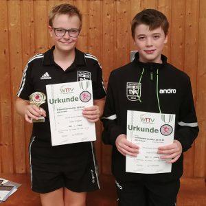 1. Platz im Doppel (Jungen 15)<br />Chris Andersen und Marcel Karst